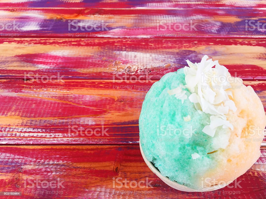Brightly colored Hawaiian shave ice stock photo