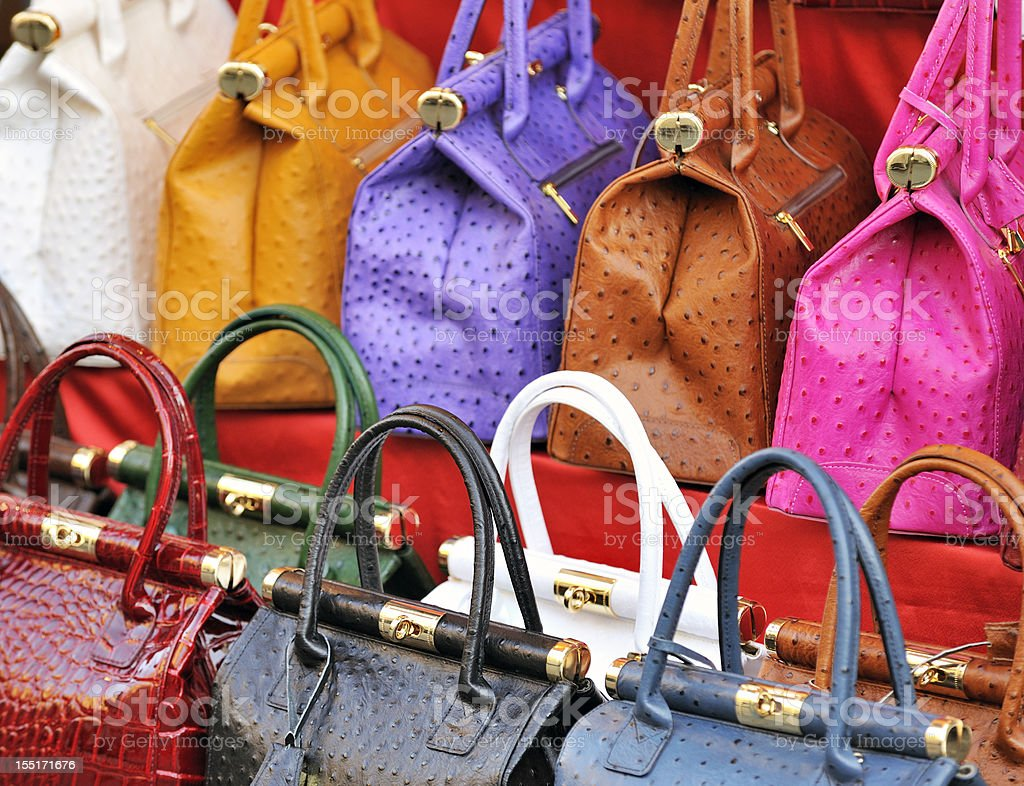 Brightly colored leather bags stock photo