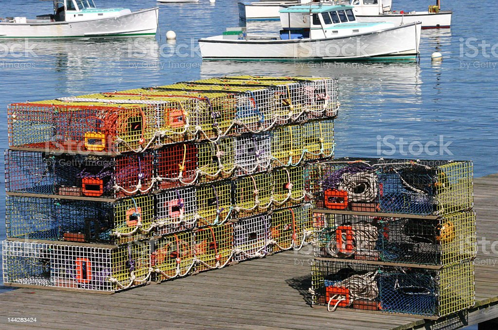 Brightly colored lobster traps stock photo