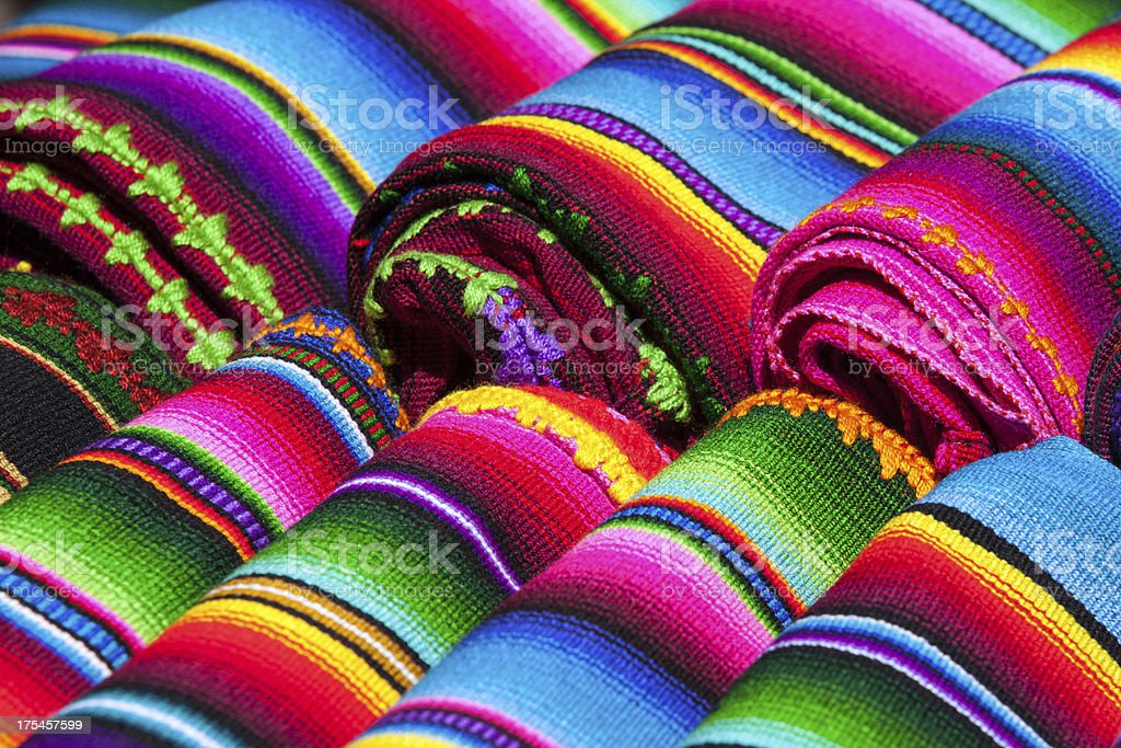 Brightly colored Mexican blankets stock photo
