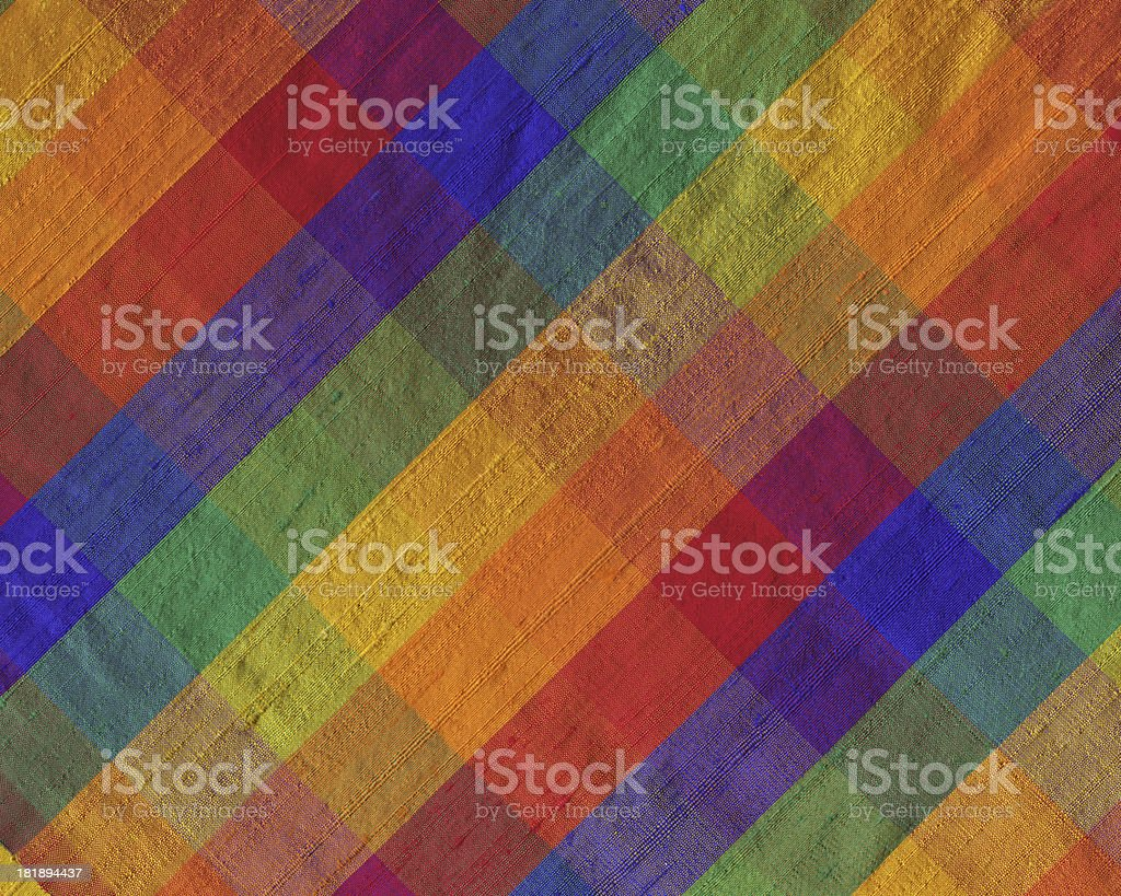 brightly colored plaid silk fabric royalty-free stock photo