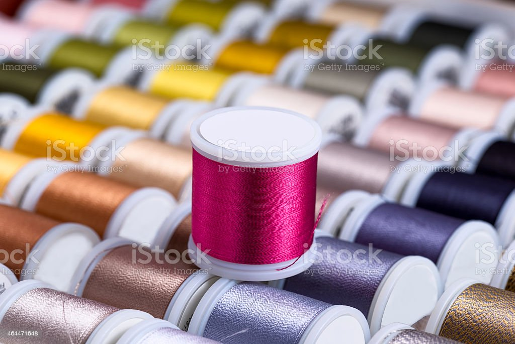 Brightly Colored Spools of Thread stock photo