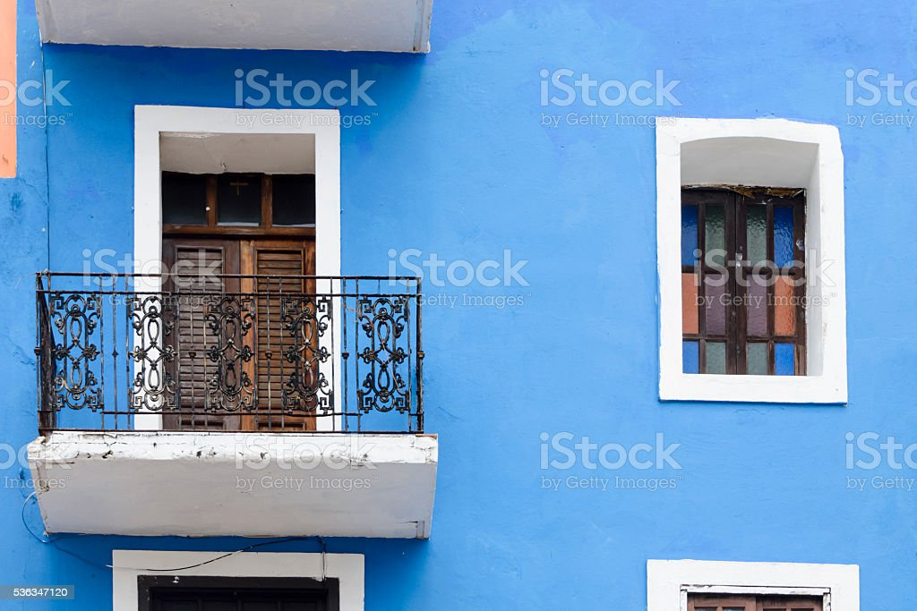 Brightly colored wall and window. Old San Juan, Puerto Rico. stock photo