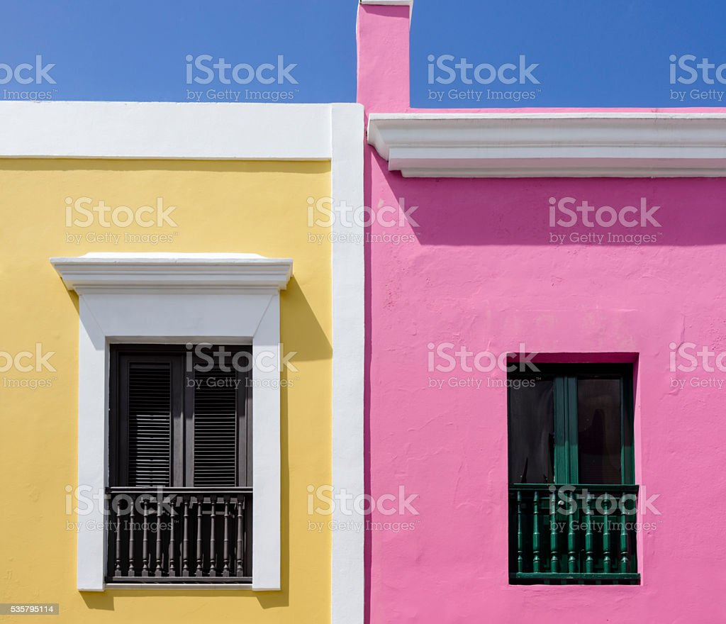 Brightly colored walls and windows. Old San Juan, Puerto Rico. stock photo