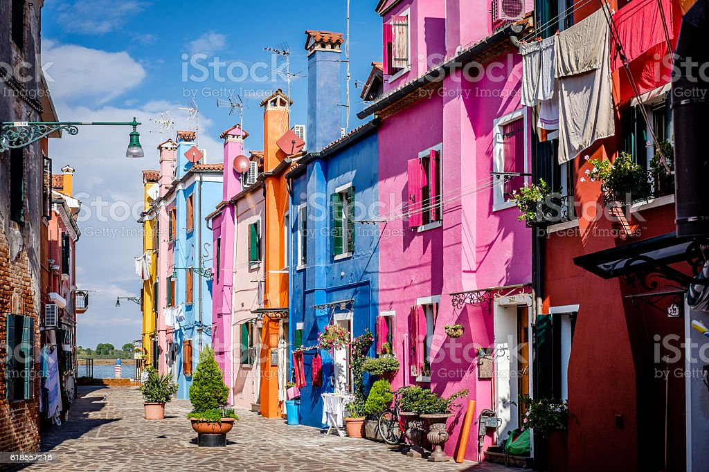 Brightly Coloured Houses in Burano stock photo