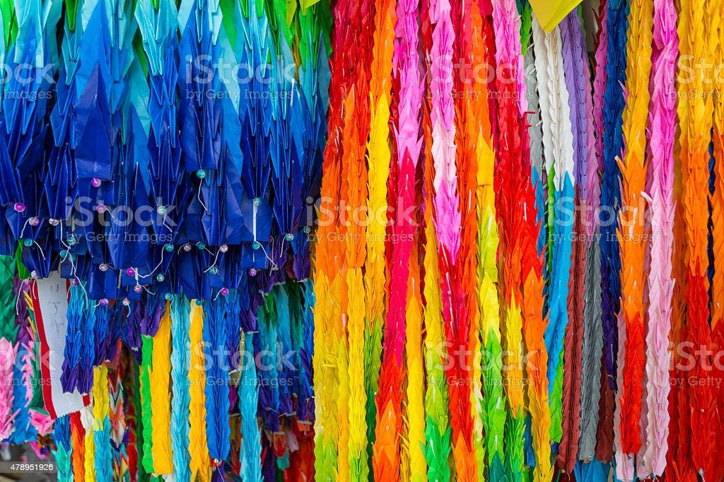 Brightly Coloured Origami Paper Cranes in Hiroshima stock photo