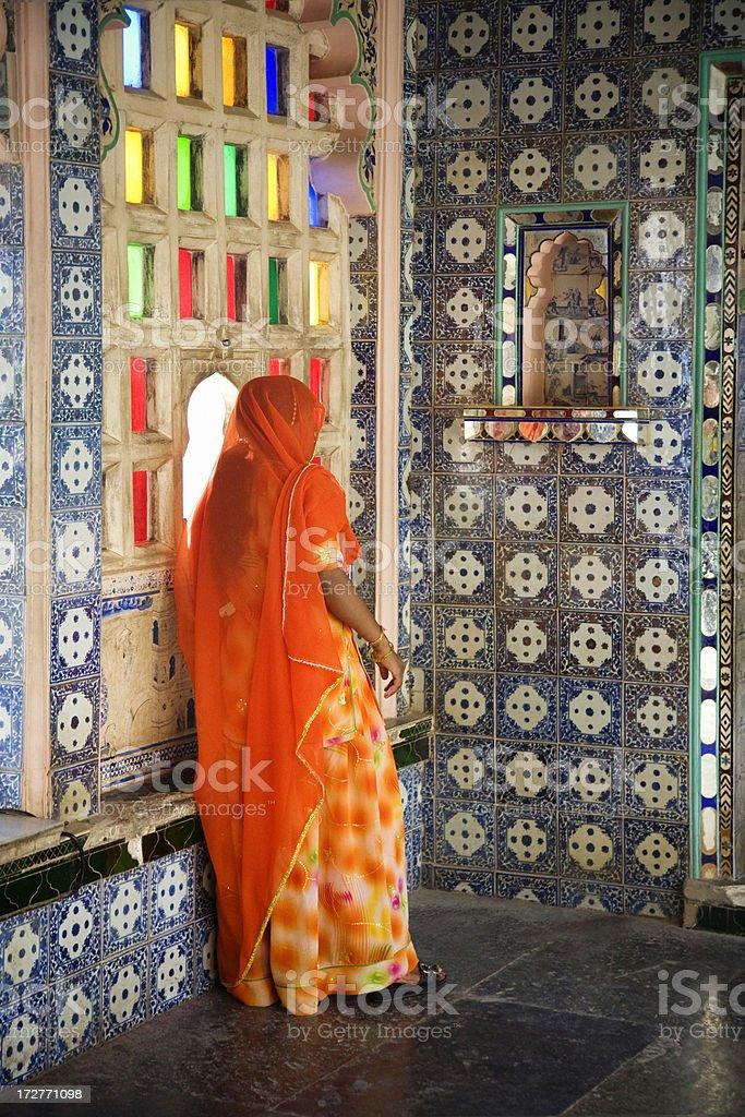 Brightly Coloured Sari royalty-free stock photo