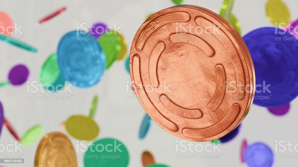 Brightly Coored Metal Film Reel Cans Floating in Space stock photo