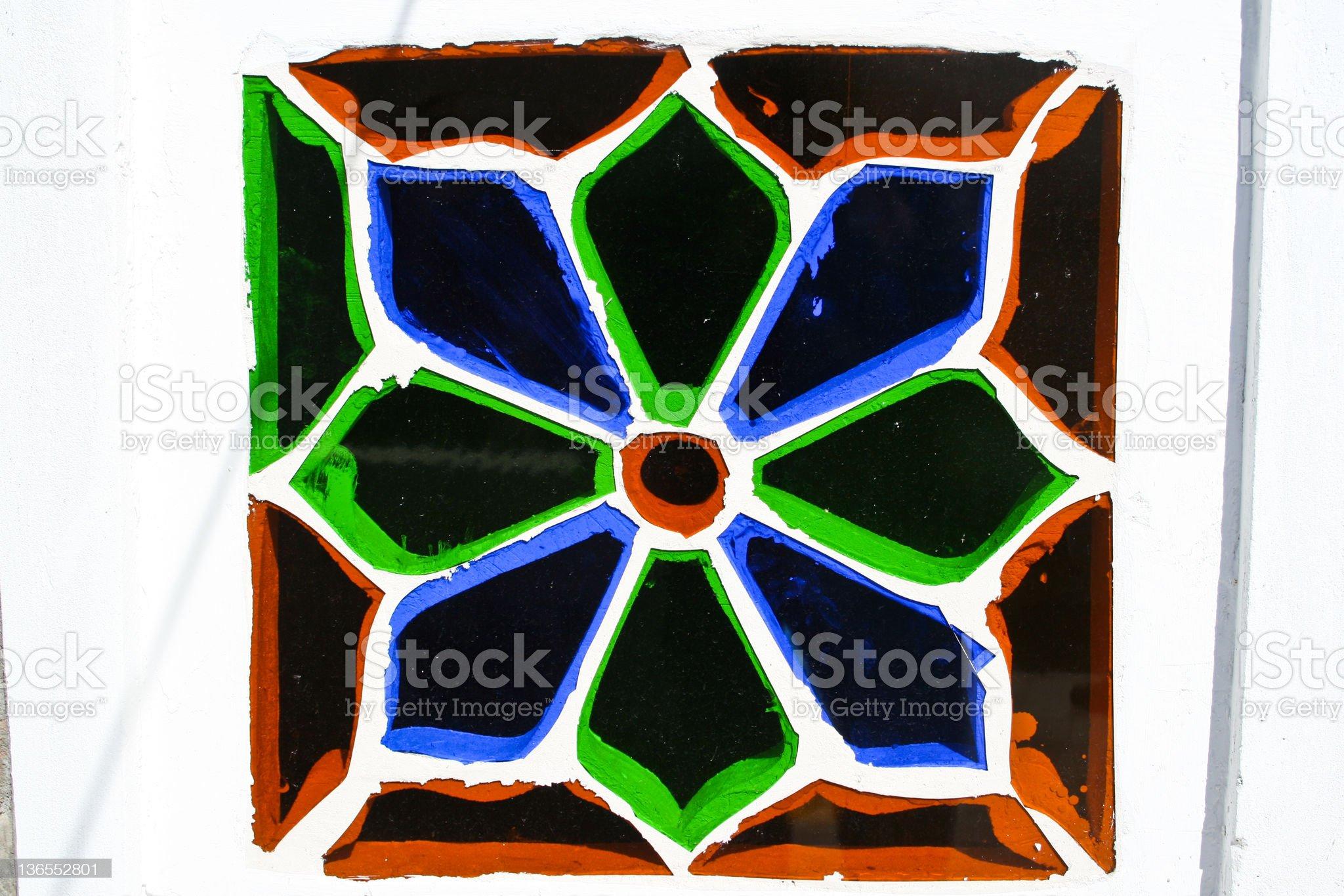 Brightly decorated window, Sanaa (Yemen). royalty-free stock photo