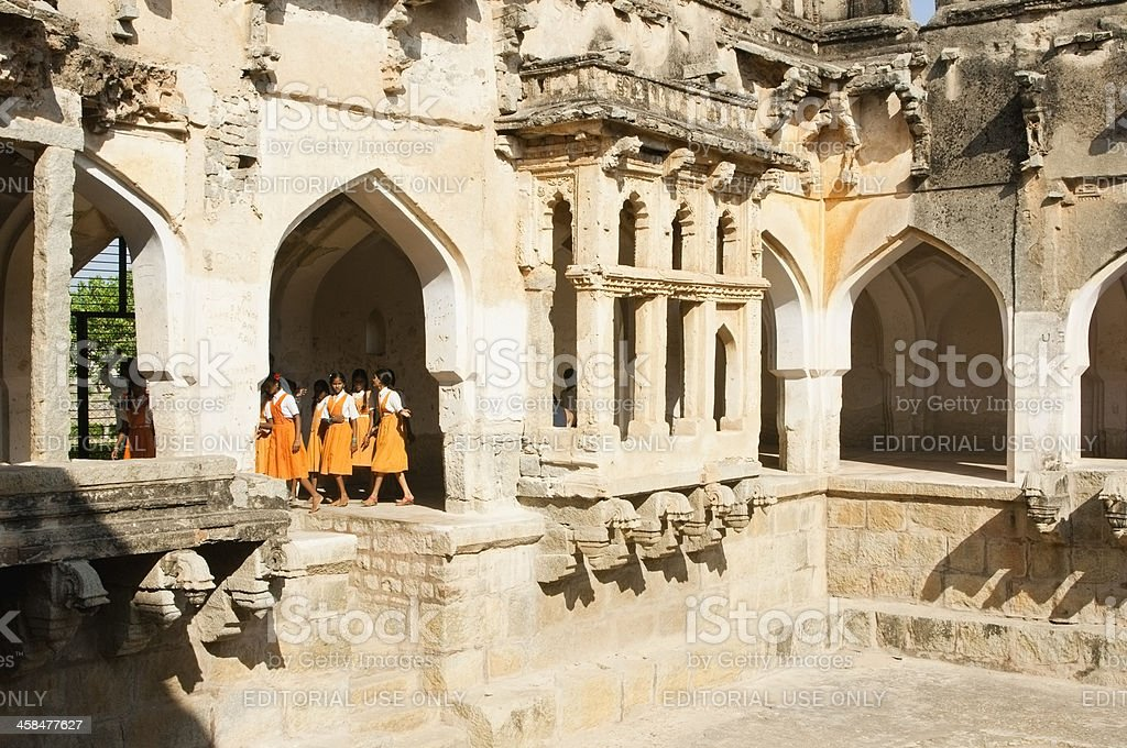 Brightly dressed school children at Indian temple royalty-free stock photo