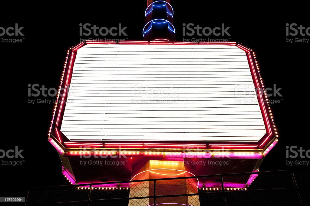 Brightly lit billboard stock photo
