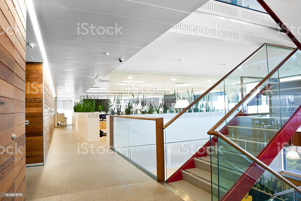 Brightly lit modern office space stock photo