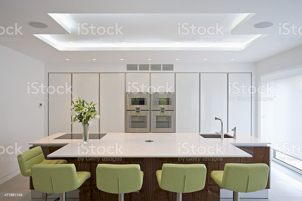 A brightly lit spacious modern kitchen royalty-free stock photo