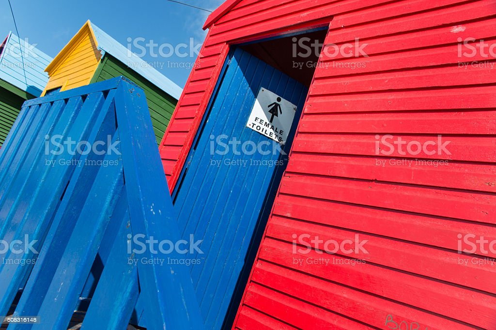 Brightly painted bathing booths at Muizenberg in South Africa 3 stock photo