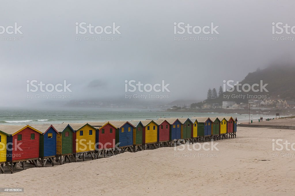 Brightly painted beach cabanas, Muizenberg, South Africa stock photo