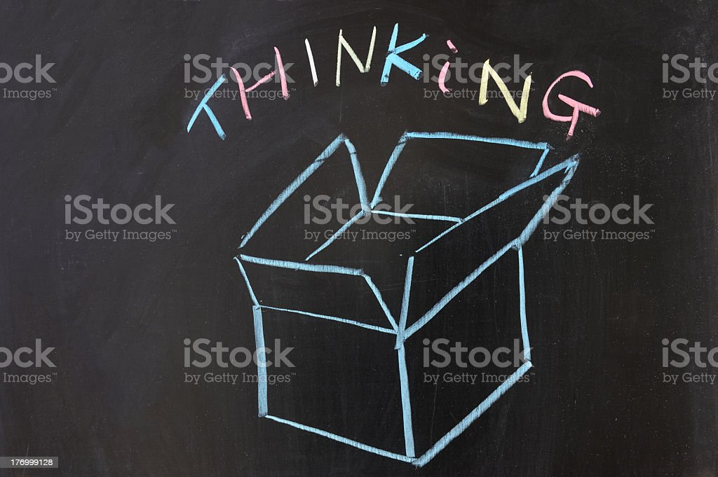 Brightly thinking outside of the box  royalty-free stock photo