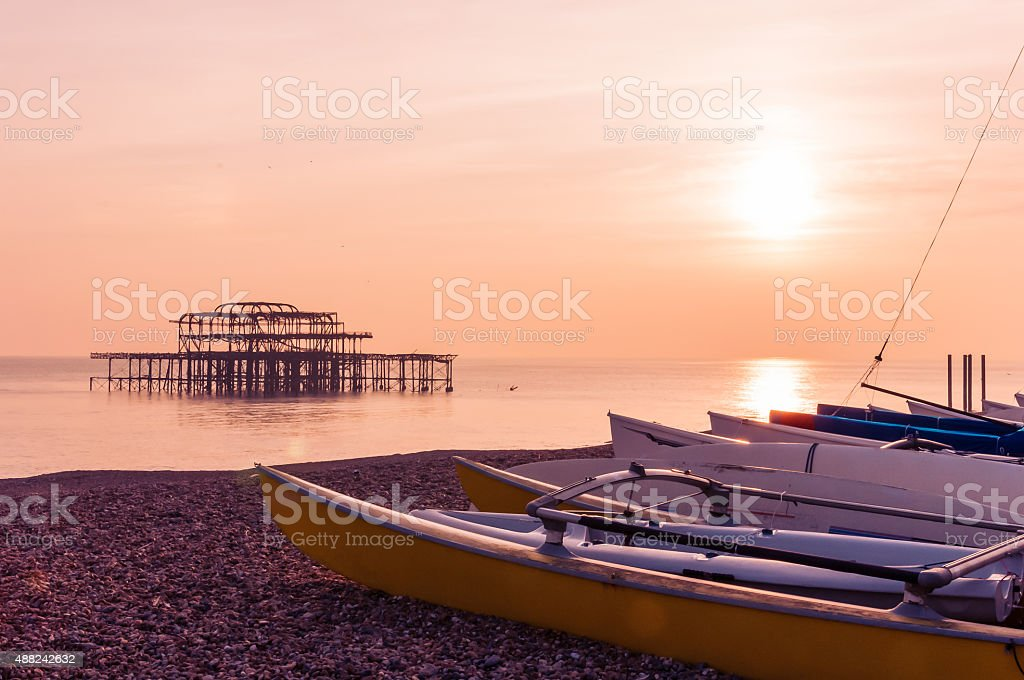 Brighton at sunset stock photo