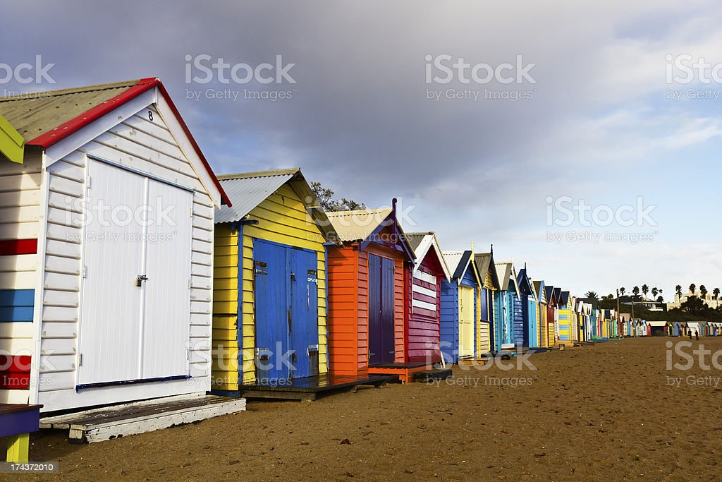 Brighton bathing boxes. royalty-free stock photo