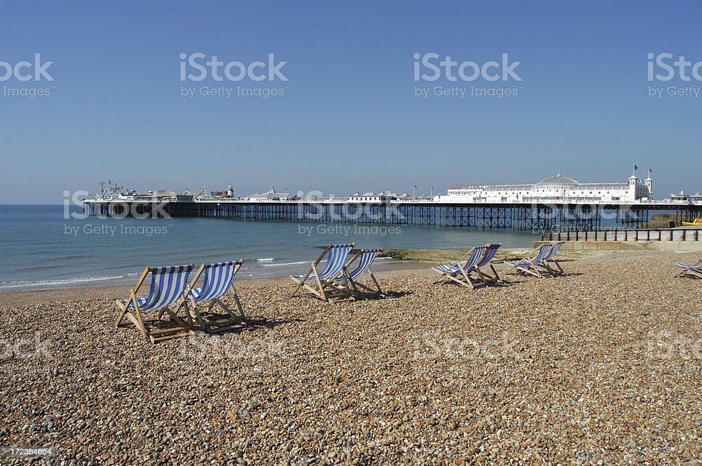 Brighton Beach and Palace Pier stock photo
