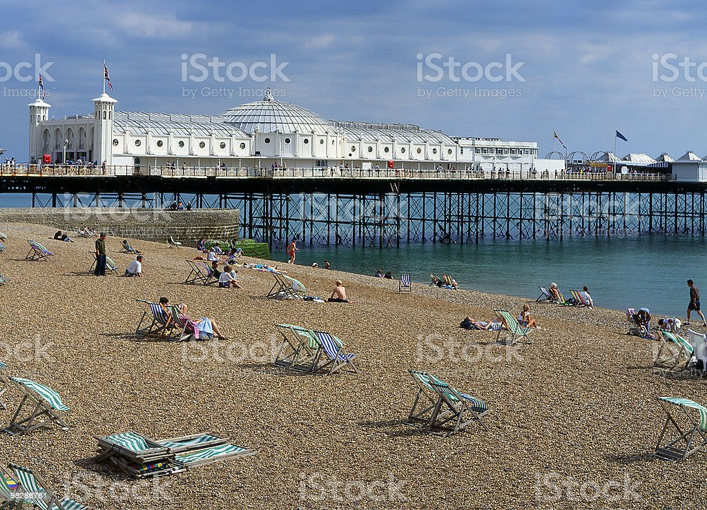 Brighton Beach and Pier. East Sussex. England stock photo