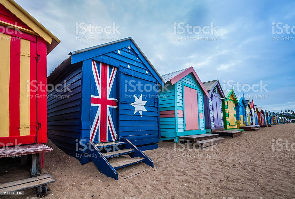 Brighton beach bathing boxes, Melbourne. Brighton beach located stock photo