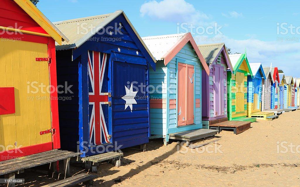 Brighton Beach Bathing Huts royalty-free stock photo