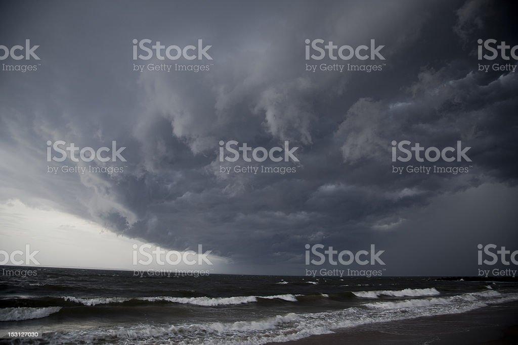 Brighton Beach Hurricane Clouds stock photo