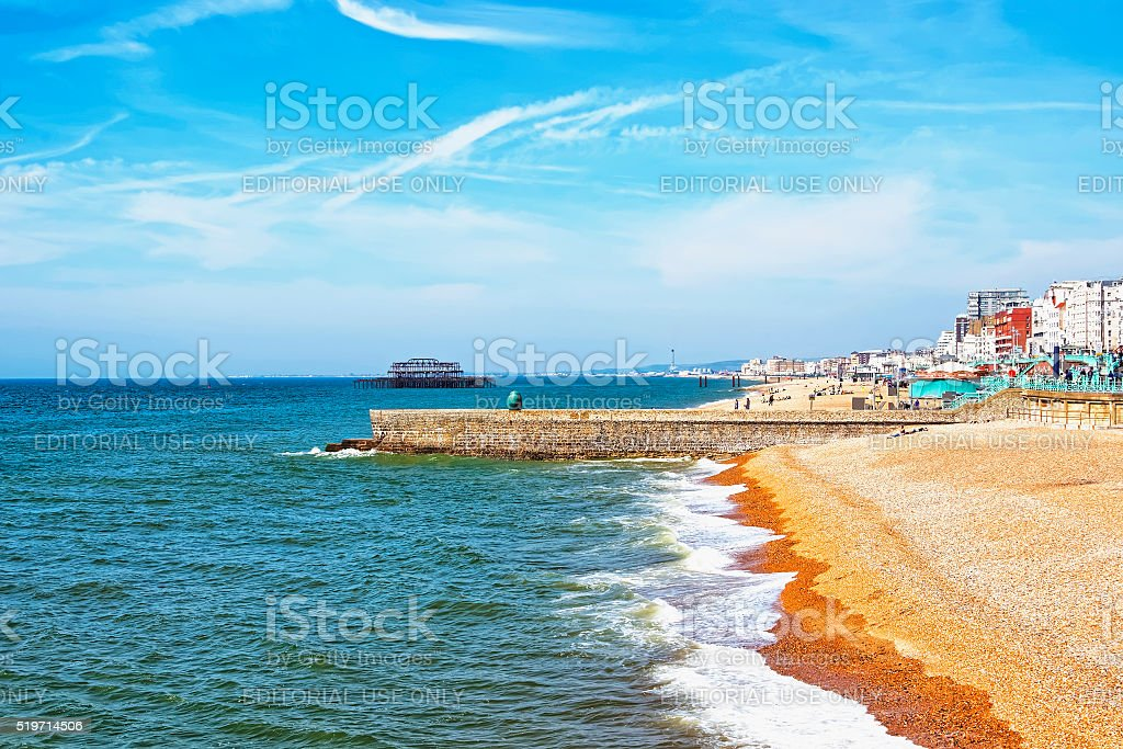 Brighton Beach in East Sussex of England stock photo