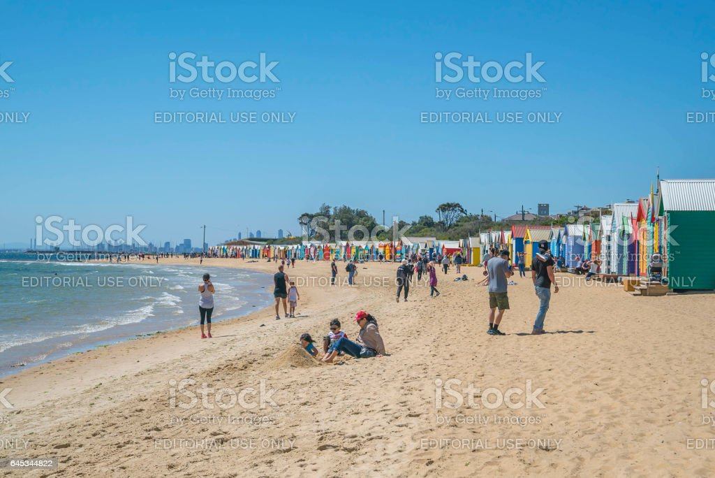 Brighton Beach is a famous beach at Melbourne stock photo