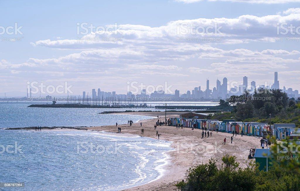 Brighton beach landscape in Melbourne, Australia. stock photo