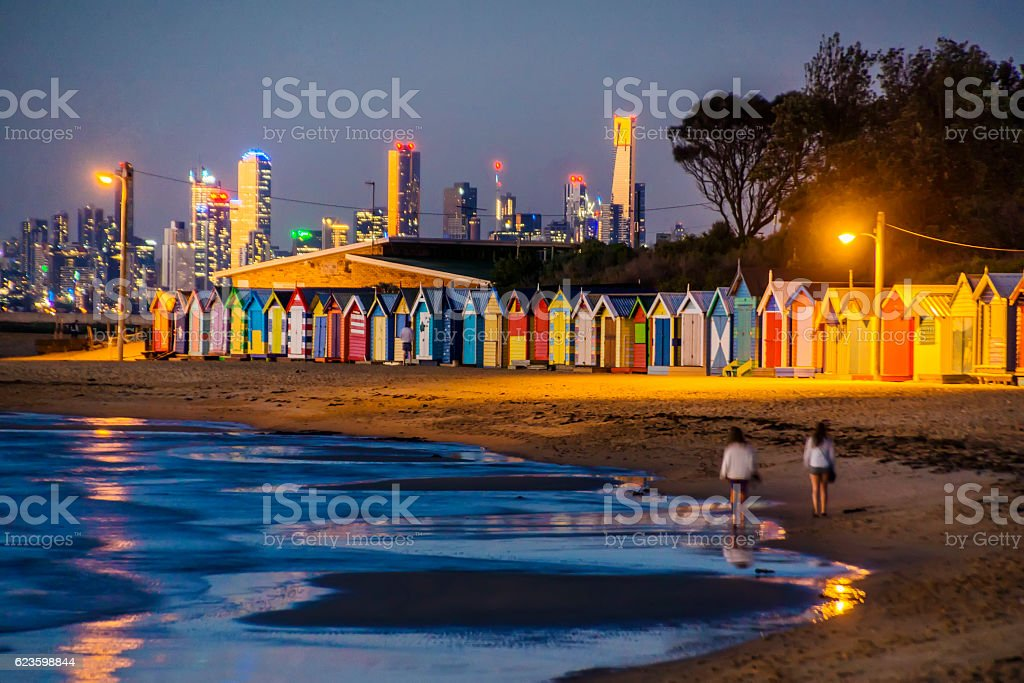 Brighton Beach, Melbourne, at dusk stock photo