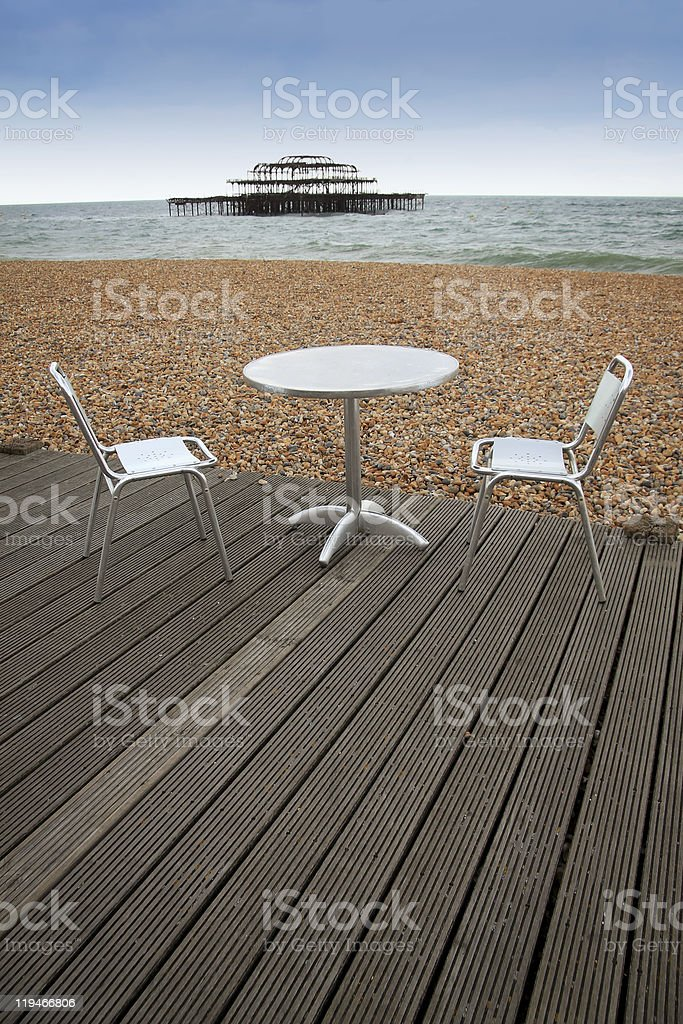 brighton beach outside dining west pier royalty-free stock photo