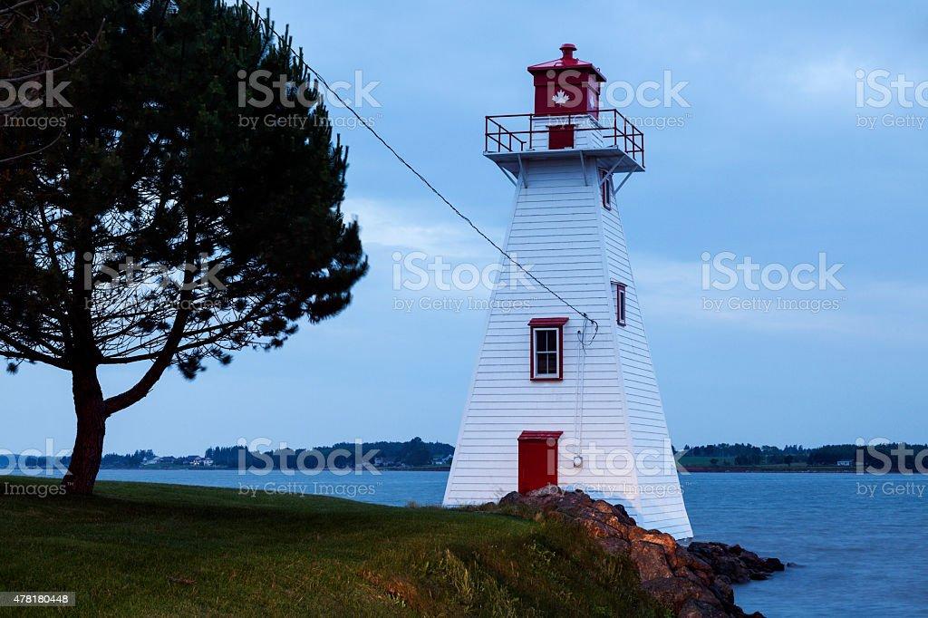 Brighton Beach Range Front Lighthouse in Charlottetown stock photo