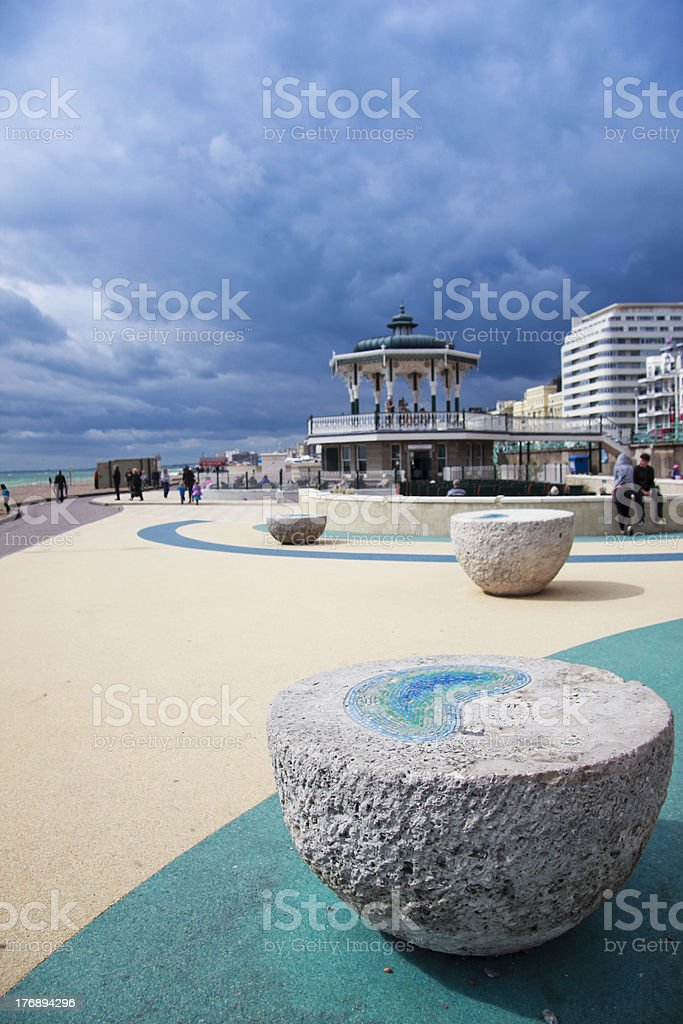 brighton beach seafront bandstand stock photo