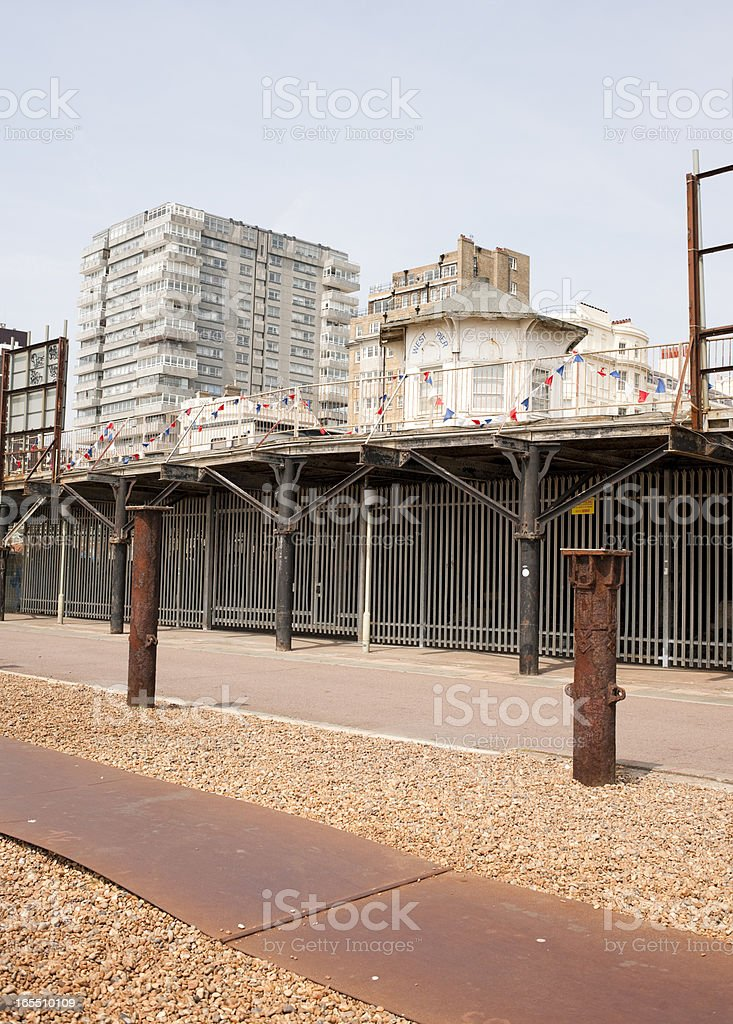 Brighton Beachfront and Buildings stock photo