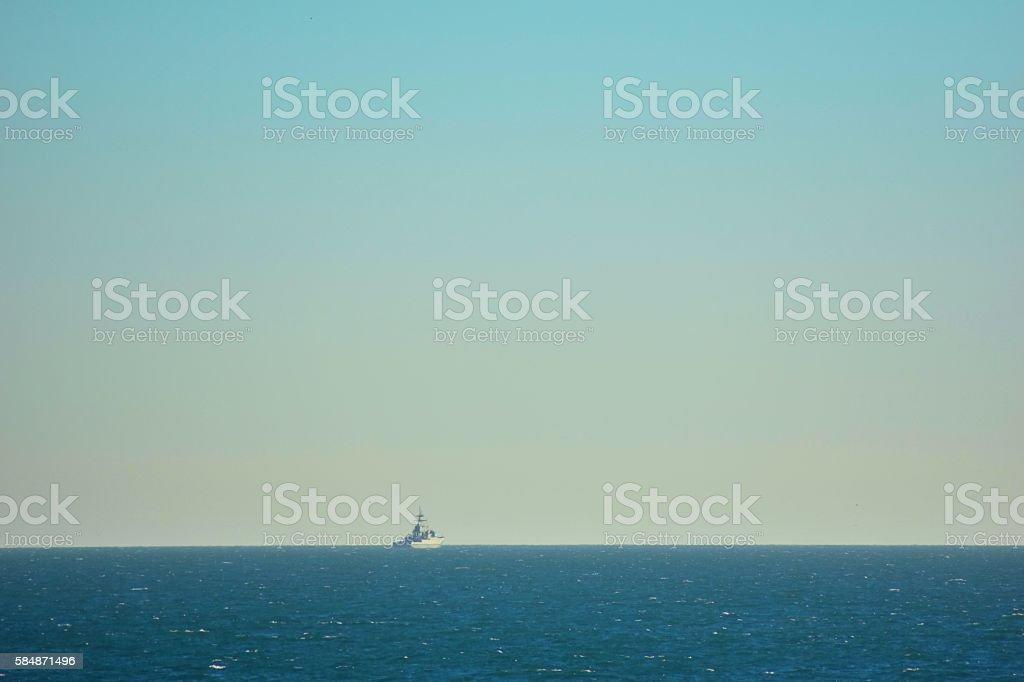 Brighton horizon with military ship in summer stock photo
