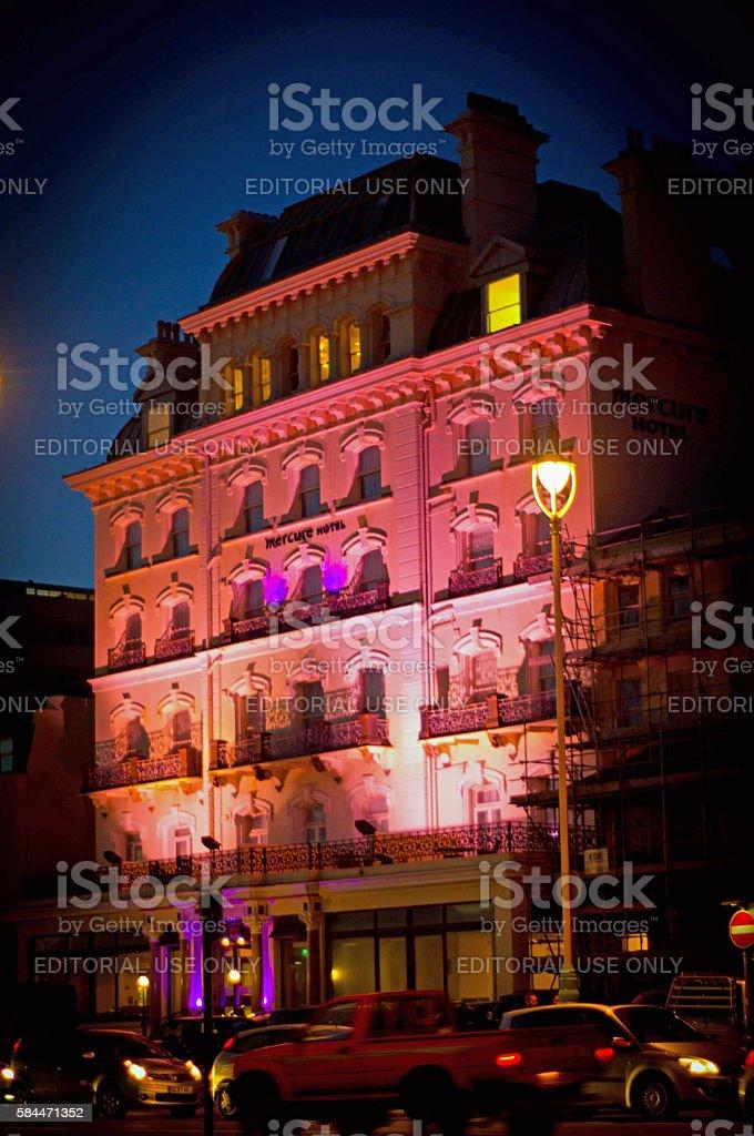 Brighton Hotel at night stock photo