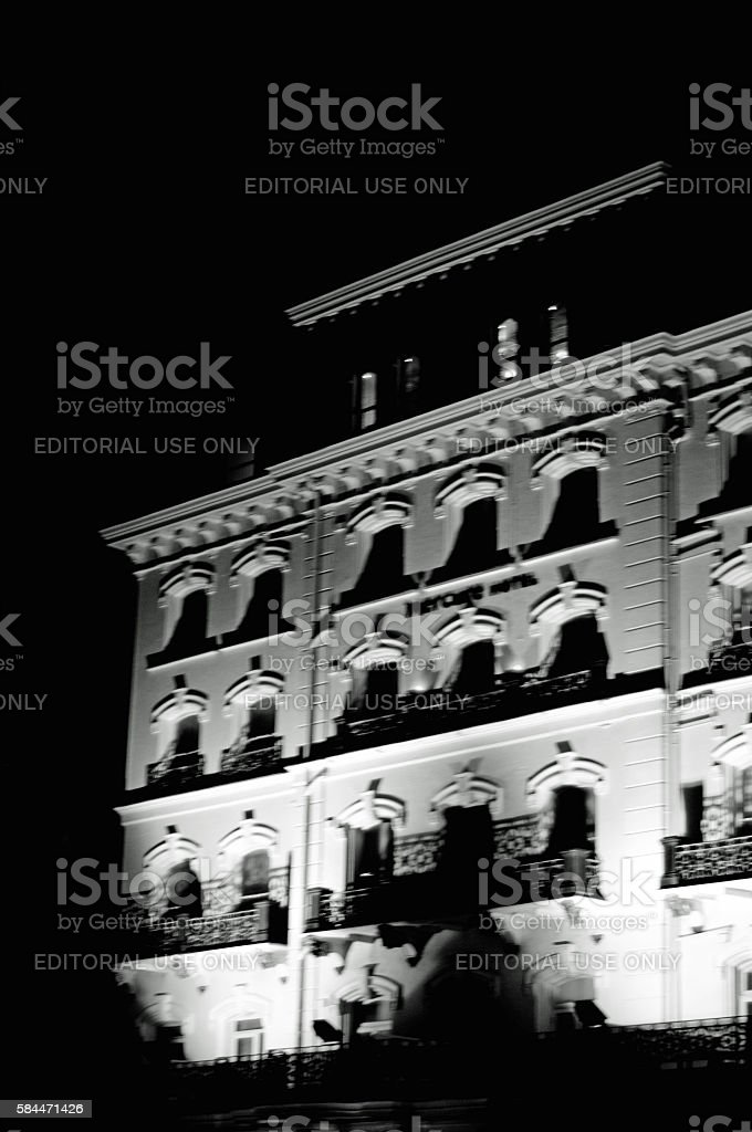 Brighton Hotel at night stock photo