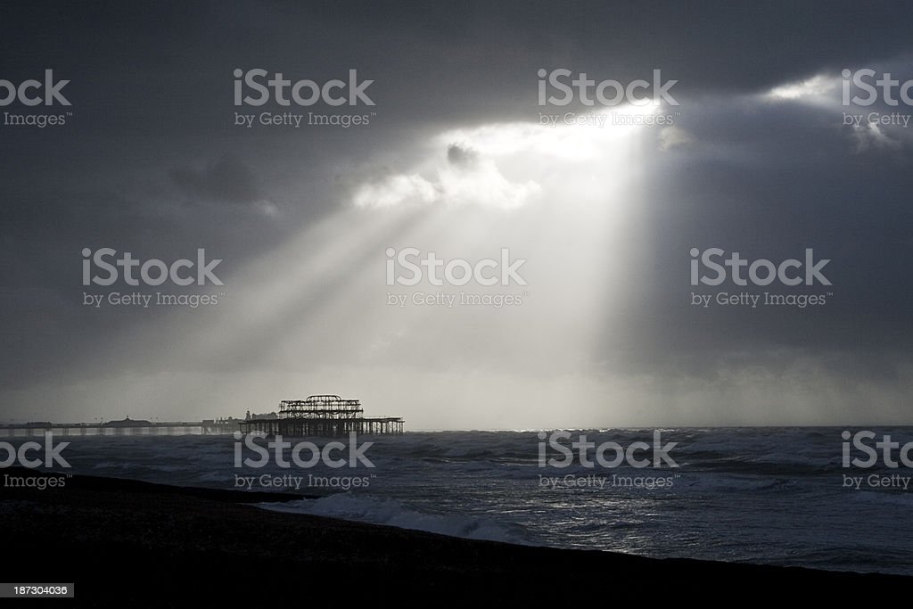 Brighton Pier after a storm stock photo