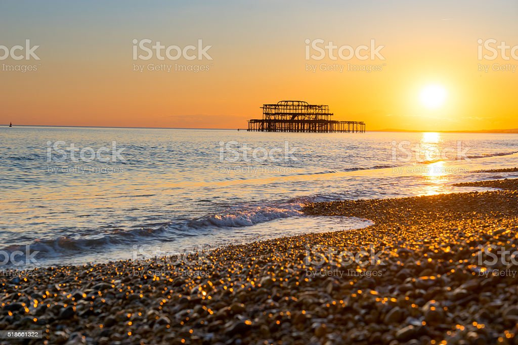 Brighton pier and beach, England stock photo