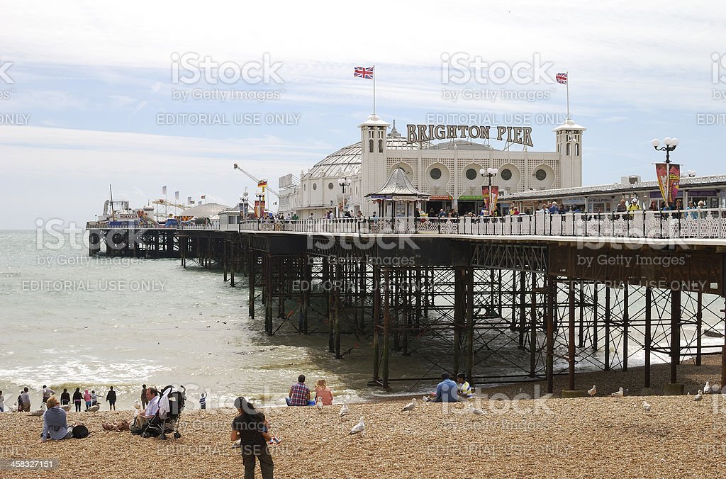 Brighton Pier and beach. Sussex. England stock photo