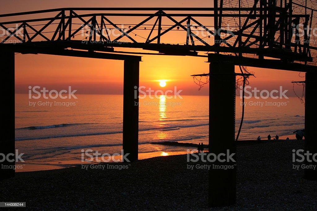 brighton pier at sunset royalty-free stock photo