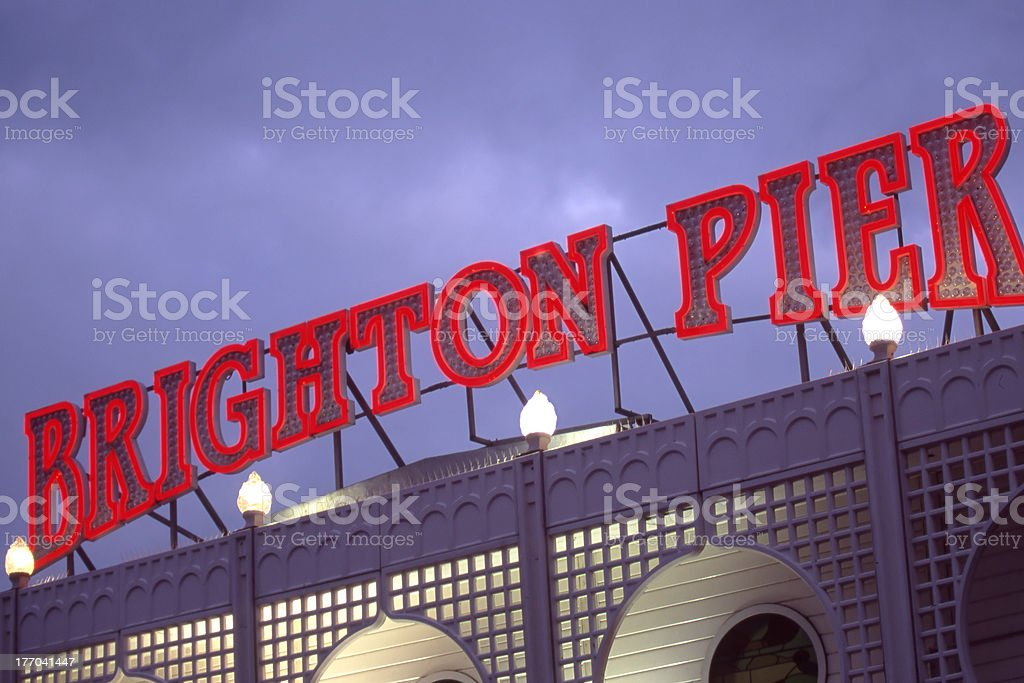 Brighton Pier illuminated sign stock photo