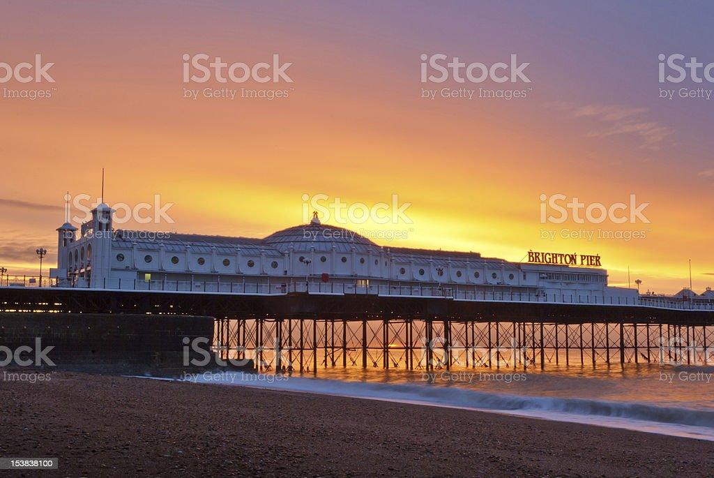 Brighton Pier in East Sussex at sunrise stock photo