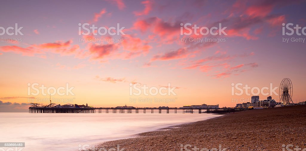 Brighton Pier in silhouette, at sunset stock photo