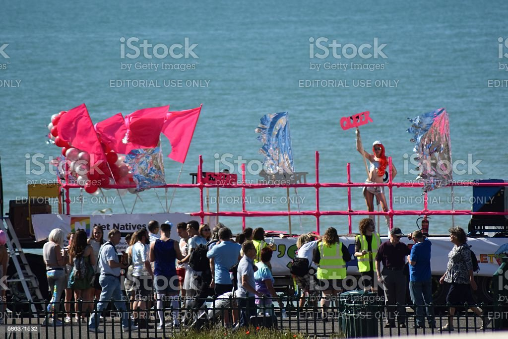 Brighton Pride 2016 main Parade Pink Float stock photo