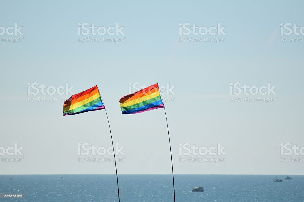 Brighton Pride Parade Rainbow Flags by sea in summer stock photo