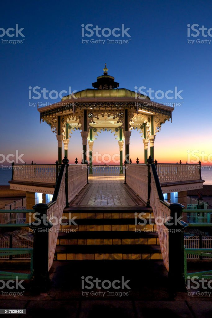 Brighton Victorian bandstand at sunset stock photo