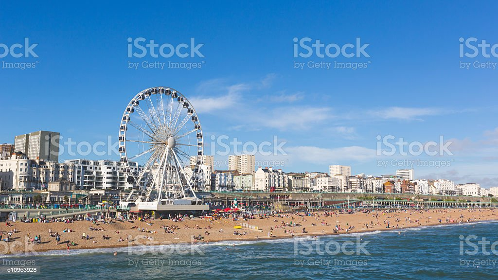 Brighton view of seaside from the pier stock photo