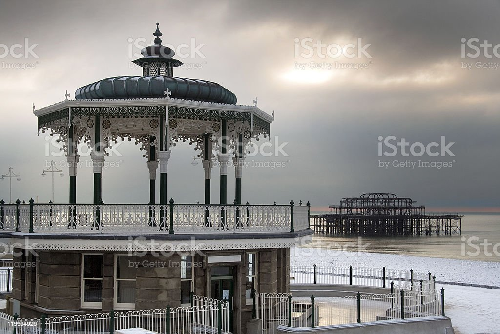 Brighton winter scene stock photo